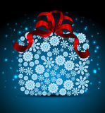 Snowflakes Christmas gift box. Vector illustration background Royalty Free Stock Images