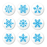 Snowflakes, Christmas  icons set. Winter, snowflakes round labels set isolated on white Stock Photography