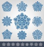 Snowflakes for Christmas and New Year  decorations. Blue set Royalty Free Stock Image