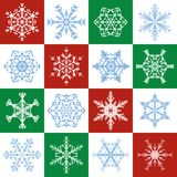 Snowflakes Christmas Red Green White Tile Pattern. Snowflakes pattern - delicate red, green, white christmas background with sixteen different designs - seamless Royalty Free Stock Photo
