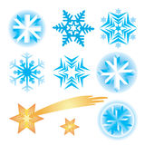 Snowflakes_christmas _stars. Seven original vector snowflakes and christmas star Royalty Free Stock Photography