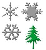Snowflakes and Christmas tree Royalty Free Stock Photos