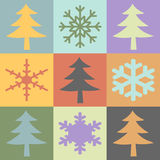 Snowflakes and Christmas Tree Royalty Free Stock Images