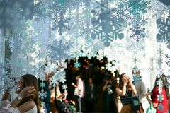 Snowflakes Christmas winter beautiful background. With the blue sky and fresh air stock photos