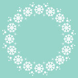 Snowflakes Christmas winter round frame design element Stock Photo