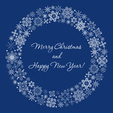 Snowflakes circle frame round wreath. Snowflakes decoration round christmas border circleframe winter holidays new year eve Stock Image