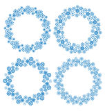 Snowflakes circle frames for Christmas holiday Stock Images