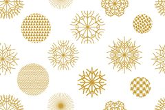 Golden Christmas background with geometric motifs. Snowflakes and circles with different ornaments. Retro textile collection Royalty Free Illustration