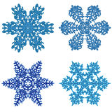 Snowflakes clipart. Snowflakes - Winter flowers, f   our beautiful snowflake isolated on white Stock Photo
