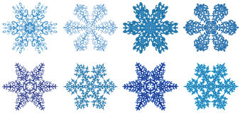 Snowflakes clipart. Snowflakes - Winter flowers, eight beautiful snowflakes isolated on white Stock Photography