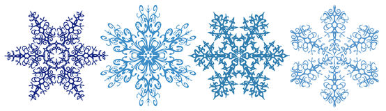 Snowflakes clipart strip. Snowflakes - Winter flowers, f   our beautiful snowflake isolated on white Stock Image