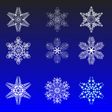 Snowflakes. Clipart winter blue ice stars Vector Illustration