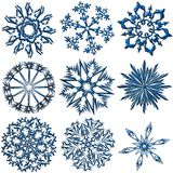 Snowflakes collection. Art snowflakes collection. Metal flakes on white royalty free illustration