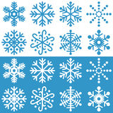 Snowflakes Collection. Isolated on white and blue background. Eps file available Stock Images