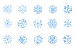 Snowflakes collection. Set of 15 different beautiful snowflakes on white background Stock Illustration