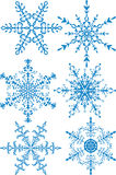 Snowflakes collection. Collection of six christmas snowflakes Royalty Free Stock Images
