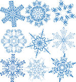 Snowflakes collection. Collection of six christmas snowflakes Stock Photo