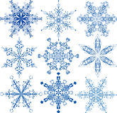 Snowflakes collection. Collection of nine christmas snowflakes vector illustration