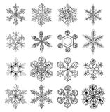Snowflakes. Collection of 16 beautiful hand - drawn  on white background Stock Images