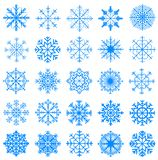 Snowflakes collection, blue stock photo