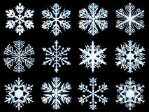 Snowflakes collection, ice texture, black background stock photos