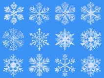 Snowflakes collection, ice texture, blue background stock photo
