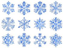 Snowflakes collection, ice texture, white background stock photo