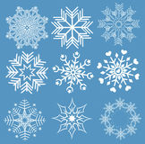 Snowflakes. Collection of snowflakes (set of snowflakes) illustration Stock Images