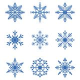 Snowflakes collection. Set of snow icons. Winter decoration elements for Christmas banner, New Year cards. Vector. Snowflakes collection. Set of snow icons Royalty Free Stock Image