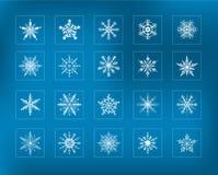 Snowflakes collection. Set of 20 winter Snowflakes Stock Photo