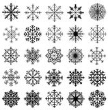 Snowflakes collection on white background stock images