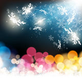 Snowflakes on colorful illumination background Stock Photos