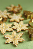 Snowflakes cookies. For Christmas with white royal frosting and sparkling decorations Royalty Free Stock Photography