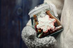 Snowflakes cookies in glass jar Stock Images