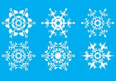 Snowflakes. The crystal form. Silhouette. A vector illustration Royalty Free Stock Photos