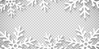 Snowflakes cut out of paper isolated on transparent background. Merry Christmas and Happy New Year. Template for your design. Vect. Or illustration. EPS 10 stock illustration