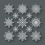 Snowflakes cut paper set Royalty Free Stock Photos