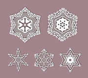 Snowflakes with 3D effect, logo icons, winter. Concept. Modern geometric design. Vector Christmas illustration, eps 10 Vector Illustration