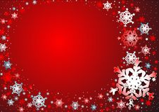 Snowflakes' dance. Snowflakes on the red background Royalty Free Stock Images