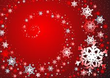 Snowflakes' dance. Snowflakes on the red background Stock Photo
