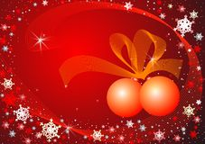 Snowflakes' dance. Snowflakes and balls on the red background Royalty Free Stock Images
