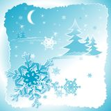 Snowflakes dance2. Snowflakes illustration against blue background Royalty Free Stock Image