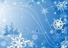 Snowflakes dance2. Snowflakes illustration against blue background Stock Photo