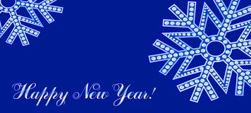 Snowflakes on a dark blue background. Brilliant snowflakes on a dark blue background Stock Photography