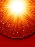Snowflakes descending golden light. EPS 8 Royalty Free Stock Photography