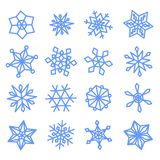 Snowflakes doodle set for your Happy New Year design. Set blue snowflakes doodle. 16 pieces. Vector collection royalty free illustration