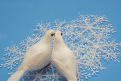 Snowflakes and Doves Royalty Free Stock Photography