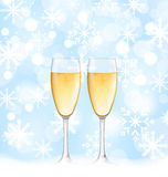 Snowflakes Elegance Background with Glasses of Stock Photo