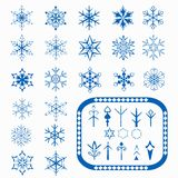 Snowflakes and elements to create new snowflakes Royalty Free Stock Image