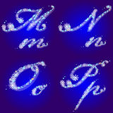 snowflakes för alfabetbokstäver M n o p övervintrar Royaltyfri Fotografi